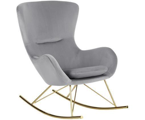 Fluwelen schommelstoel Wing, Grijs