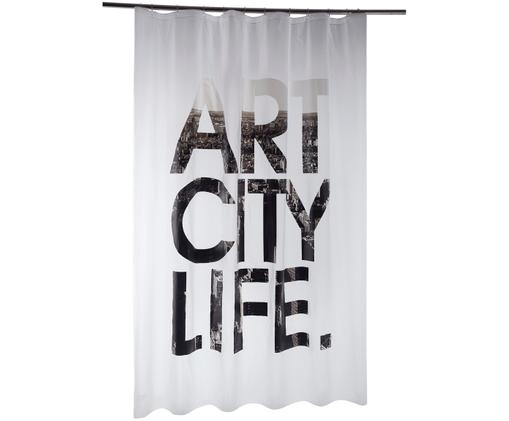 Zasłona prysznicowa Art City Life, Biały, czarny, szary, S 180 x D 200 cm