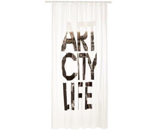 Duschvorhang Art City Life mit Schriftzug, Weiß, Schwarz, Grau, 180 x 200 cm