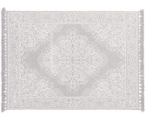 Gemusterter Baumwollteppich Salima mit Quasten, handgewebt, Baumwolle, Hellgrau, Cremeweiss, B 160 x L 230 cm (Grösse M)