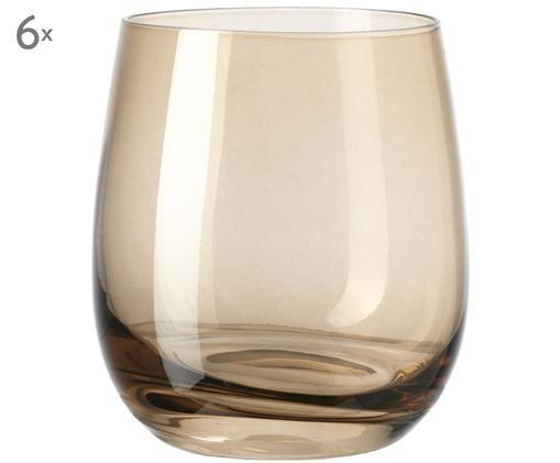 Hochwertige Wassergläser Sora in Hellbraun, 6er-Set, Glas, Hellbraun, Ø 8 x H 10 cm