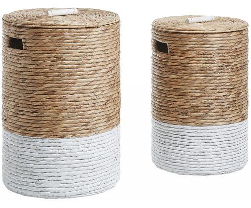 Set de cesta de lavandería Mast, 2pzas., Blanco, beige