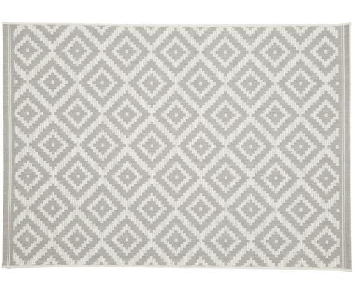 Tapis intérieur-extérieur imprimé géométrique Miami, Blanc, gris