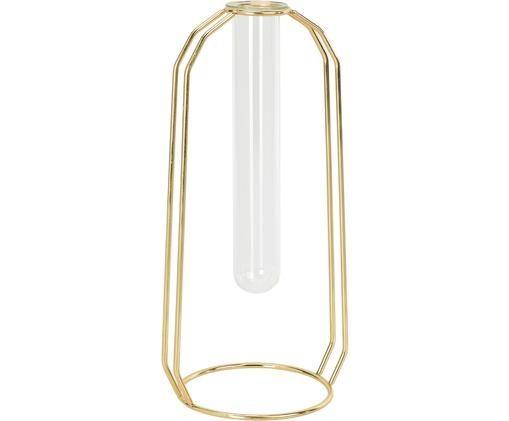Jarrón de vidrio con base Meder, Estructura: metal, recubierto, Dorado, transparente, An 12 x Al 25 cm
