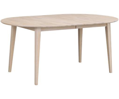 Stół rozkładany do jadalni z litego drewna Filippa, Drewno dębowe, bielone