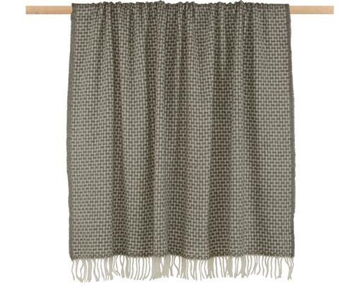 Gemustertes Woll-Plaid Samantha in Grau/Creme, 70% Wolle, 30% Acryl, Grau, Creme, 140 x 200 cm