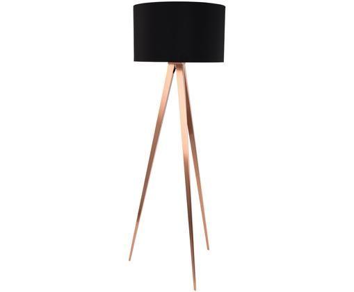 Lampadaire Tripod, Abat-jour: noir Pied de lampe: cuivre