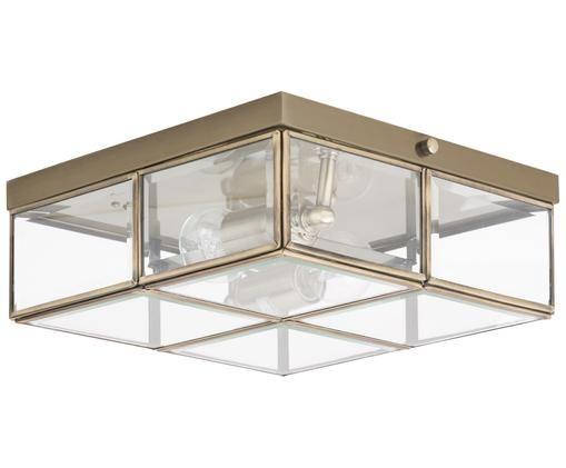 Plafón Ben, estilo moderno, Latón, transparente