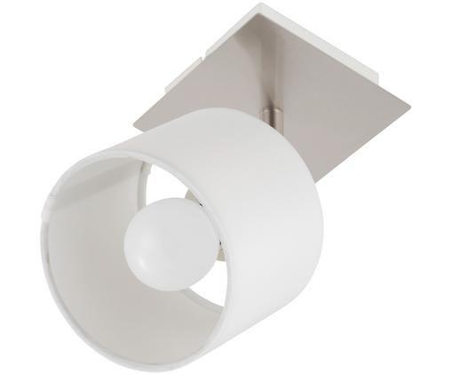 Deckenleuchte Casper, Baldachin: Metall, vernickelt, Lampenschirm: Textil, Silberfarben,Weiß, 11 x 11 cm