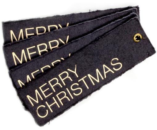 Étiquettes cadeauChristmas, 4pièces, Couleur argentée, gris foncé