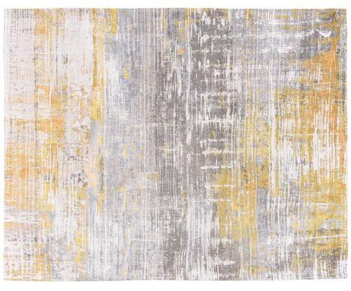 Alfombra de diseño Streaks, Parte superior: 85%algodón, 15%hilos de, Reverso: mezcla de algodón, recubi, Amarillo, gris, blanco, An 280 x L 360 cm (Tamaño XL)