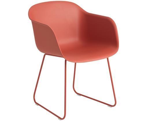 Sedia con braccioli Fiber con struttura antiscivolo, Seduta: materiale sintetico ricic, Gambe: acciaio verniciato a polv, Rosso, L 51 x A 77 cm