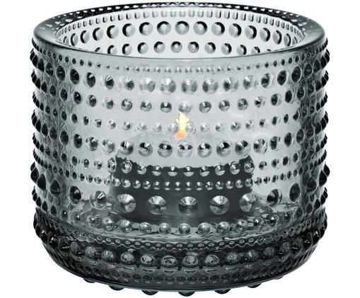 Teelichthalter Kastehelmi, Glas, Grau, Ø 8 x H 6 cm