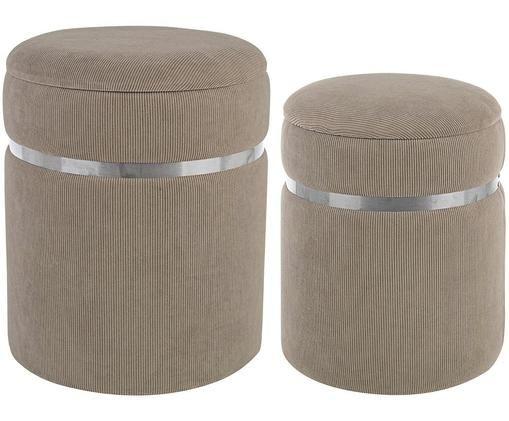 Set de pufs Remvira, 2 pzas., Estructura: tablero de fibras de dens, Tapizado: poliéster, Beige, plateado, Famaños diferentes
