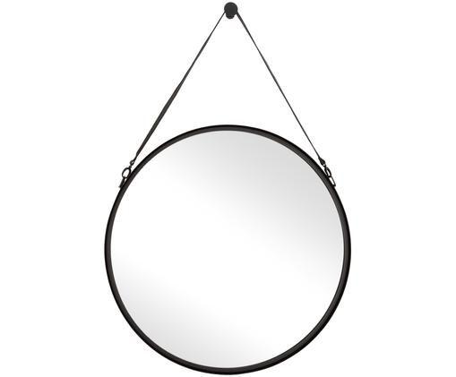 Runder Wandspiegel Liz mit schwarzer Lederschlaufe, Rahmen: Eisen, pulverbeschichtet, Spiegelfläche: Spiegelglas, Schwarz, Ø 80 cm