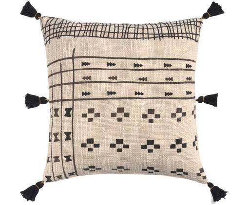 Poszewka na poduszkę z chwostami  Nilo, Bawełna, Beżowy, czarny, S 45 x D 45 cm