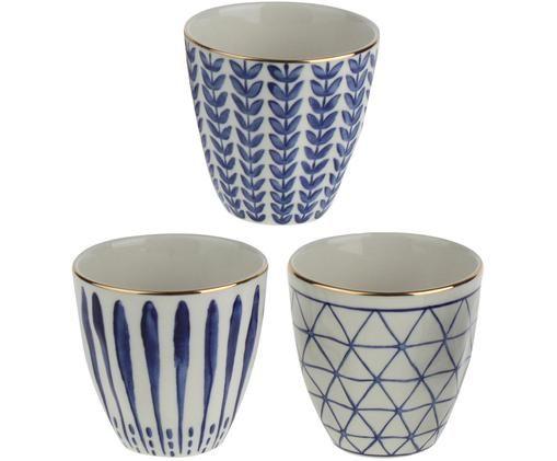 Set tazze senza manico Santorin, 3 pz., Gres, Blu, bianco, dorato, Ø 9 x Alt. 9 cm