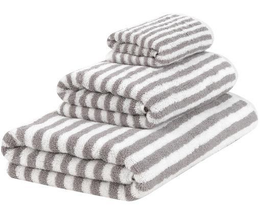Set asciugamani reversibili Viola, 3 pz., 100% cotone, qualità media 550 g/m², Grigio, bianco crema, Diverse dimensioni