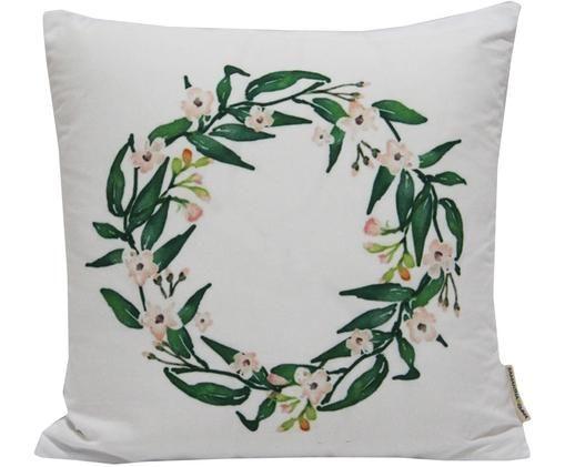 Housse de coussin imprimé floralWreath, Blanc, vert, rose