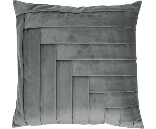 Cuscino in velluto Kinga, con imbottitura, Rivestimento: velluto di poliestere, Grigio, Larg. 45 x Lung. 45 cm