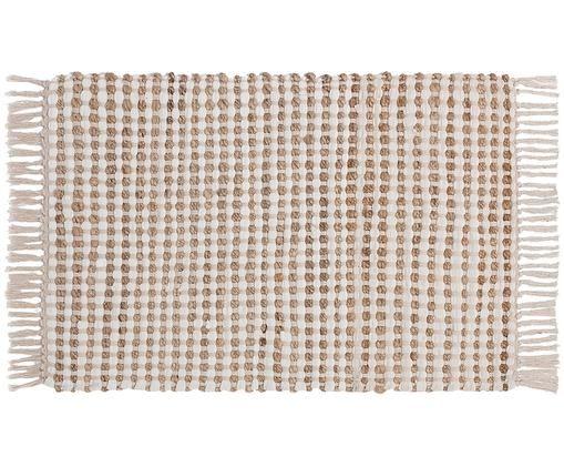 Vloerkleed Fiesta van katoen/jute, 55% katoen, 45% jute, Wit, beige, B 60 x L 90 cm (maat XXS)