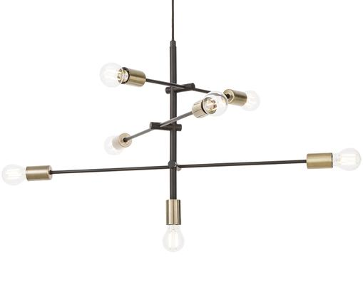 Lampada a sospensione in nero Visby, Baldacchino: metallo verniciato a polv, Nero, Larg. 84 x Alt. 49 cm