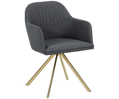 Chaise pivotante à accoudoirs, en cuir synthétique Lola, Anthracite