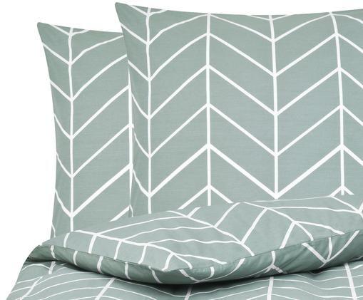 Renforcé-Bettwäsche Mirja mit grafischem Muster, Webart: Renforcé, Grün, Cremeweiß, 200 x 200 cm