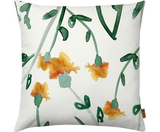 Housse de coussin imprimé floral Flower Dream, Blanc, vert, orange