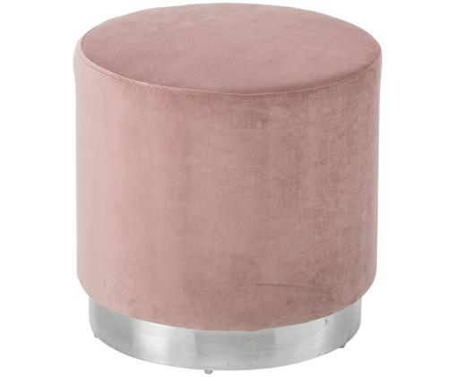 Puf de terciopelo Orchid, Tapizado: terciopelo (poliéster) 15, Estructura: tablero de fibras de dens, Tapizado: rosa Base: plateado, Ø 40 x Al 39 cm