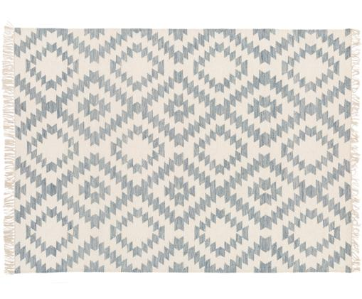 Handgeweven wollen vloerkleed Farum, Bovenzijde: 90% wol. 10% katoen, Onderzijde: 90% wol. 10% katoen, Grijs, crèmekleurig, 160 x 230 cm