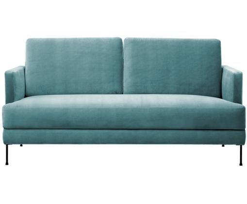 Samt-Sofa Fluente (2-Sitzer), Bezug: Samt (Hochwertiger Polyes, Gestell: Massives Kiefernholz, Füße: Metall, lackiert, Türkis, B 168 x T 83 cm