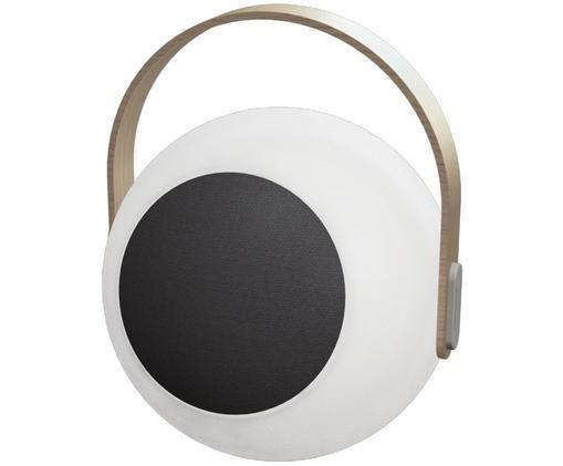 Zewnętrzna mobilna lampa LED z głośnikiem Eye, Biały, jasny brązowy, Ø 24 x W 28 cm