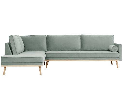Canapé d'angle en velours Saint (4 places), Vert sauge