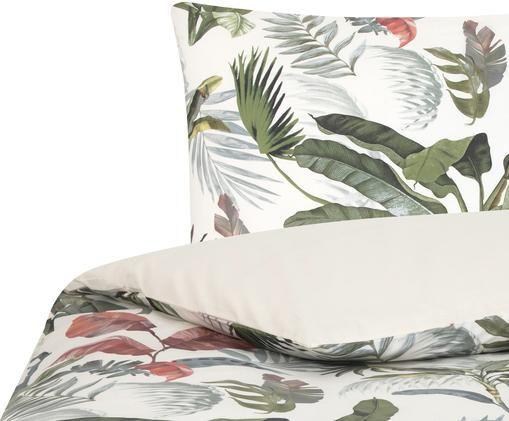 Perkal-Bettwäsche Tropicana mit tropischem Print, Webart: Perkal Fadendichte 200 TC, Vorderseite: Mehrfarbig Rückseite: Cremeweiss, 135 x 200 cm