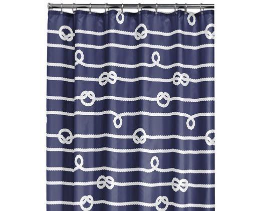 Duschvorhang Rope, Blau, Weiß, 180 x 200 cm