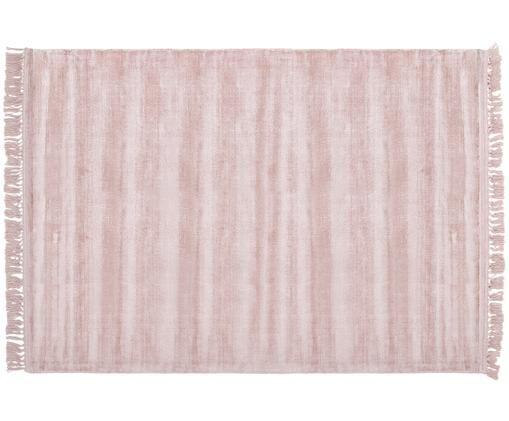 Handgewebter Viskoseteppich Aria mit Fransen in Rosa, Rückseite: 100% Baumwolle, Altrosa, B 160 x L 230 cm (Größe M)