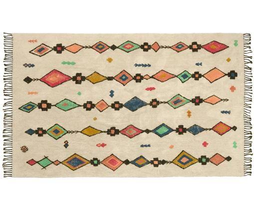 Alfombra con flecos Tuareg, Beige, multicolor