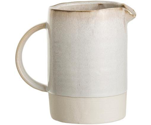 Handgefertigter Krug Carrie, Gebrochenes Weiß, Braun