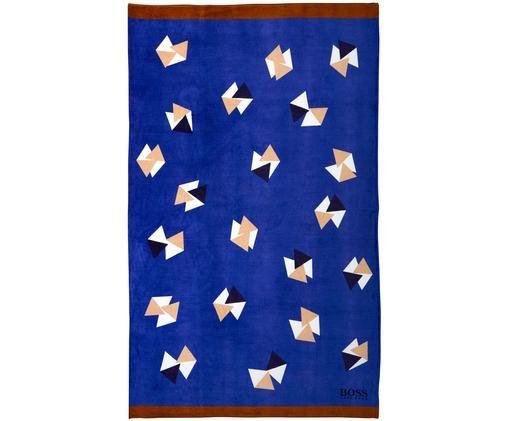 Strandtuch Origami, Tuch: Blau, Braun Muster: Weiß, Beige, Dunkelblau