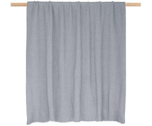 Plaid in cucitura a maglia Adalyn, 100% cotone, Grigio chiaro, Larg. 150 x Lung. 200 cm