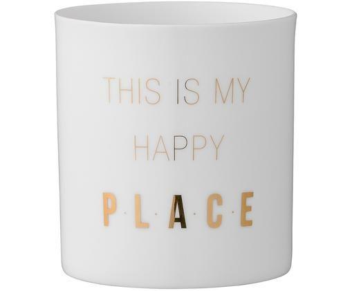 Portavelas Life Goals, Porcelana, Blanco, dorado, Ø 6 x Al 8 cm