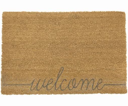Wycieraczka Welcome, Włókno kokosowe, Mata podłogowa: beżowy Napis: szary, S 40 x D 60 cm