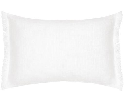 Poszewka na poduszkę z lnu z frędzlami Luana, Len, Kremowy, S 30 x D 50 cm