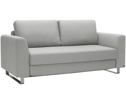 Schlafsofa Bruno (3-Sitzer), Bezug: Pflegeleichtes robustes P, Rahmen: Massivholz, Füße: Gebürstetes Metall oder B, Hellgrau, B 200 x T 84 cm