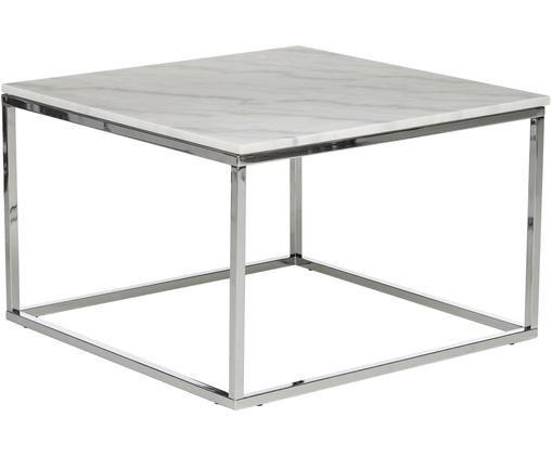 Tavolino da salotto in marmo e metallo Accent, Piano d'appoggio: marmo, Struttura: metallo cromato, Bianco, Larg. 75 x Alt. 48 cm