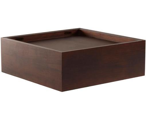Couchtisch Graham mit Stauraumfunktion, Mangoholz, beschichtet, Braun, B 80 x T 80 cm