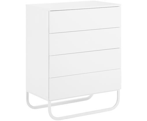 Schubladenkommode Sanford in Weiß, Korpus: Mitteldichte Holzfaserpla, Fußgestell: Metall, pulverbeschichtet, Korpus: Weiß, mattFußgestell: Weiß, matt, 80 x 106 cm
