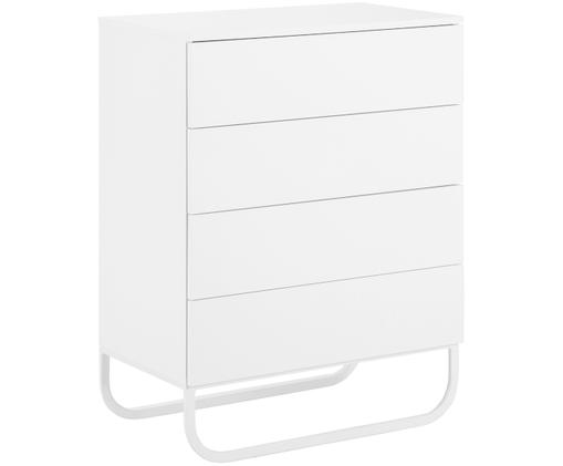 Cassettiera Sanford, Struttura: pannello di fibra a media, Struttura: bianco, opaco Gambe: bianco opaco, Larg. 80 x Alt. 106 cm