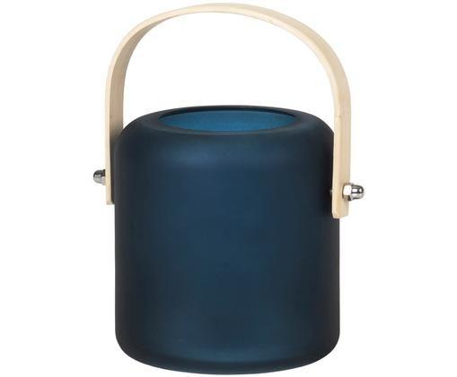 Mundgeblasenes Windlicht Oda, Windlicht: Glas, Henkel: Bambusholz, Dunkelblau, Bambusholz, Ø 9 x H 10 cm